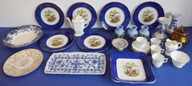 A selection of ceramics to include a coffee service, 19th century paste pots with registration