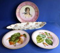 A late 19th century cabinet plate decorated with a beautiful young and puce and gilded border; a
