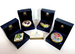Four boxed Royal Worcester fine bone chinaConnoisseur Collection pill boxes: two circular and two