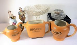 Ceramics and glassware to include Ricard Anisette jugs and hand-decorated porcelain figures