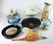 A good selection of ceramics and glassware; to include a 19th century circular ebonised Prattware-