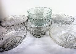 Six 19th century flat cut bowls Condition Report: The large tall circular bowl has chips to the edge