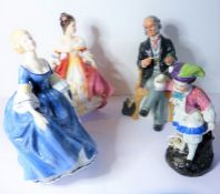 Three Royal Doulton figures; 'The Doctor' (HN 2858), 'Southern Belle' (HN 2229) and 'Hilary' (HN