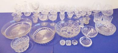 A quantity of good cut glassware; to include a set of six champagnes, wines and liqueurs, five bowls