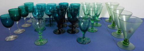 A good selection of mostly green-glass goblets including early/mid-19th century examples (various)