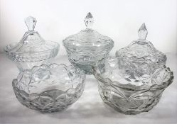Three cut-glass bowls and covers and two flat-cut bowls Condition Report: The smaller of the two