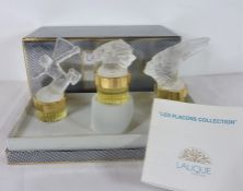 Les Flacons Collection by Lalique; three perfumes within original box and with original paperwork