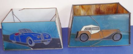 Two unusual Tiffany-style rectangular glass lamp shades decorated with classic cars (39cm long x