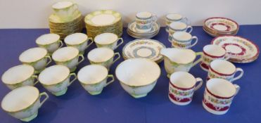 An Art Deco-style 12-place Aynsleytea service with milk jug and sugar bowl together with two 4-