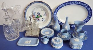 A mixed lot to include small blue Wedgwood Jasperware ornamental wares, two hand-cut decanters, a