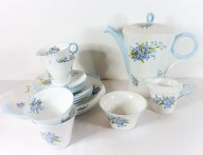 A good mid-20th century four-place coffee service by Shelley; comprising coffee pot, sugar bowl,
