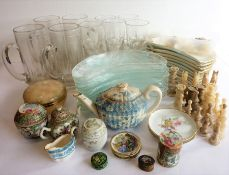 Assorted ceramics and glassware to include early 20th century hand-decorated Chinese Canton wares