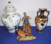 A Royal Crown Derby three-handled vase (26cm high) (a/f), aBeswick porcelain pheasant (14cm