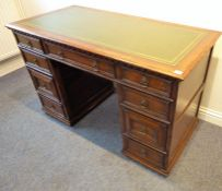 A Titchmarsh & Goodwin oak kneehole deskTop of the desk looks good, a few scratches and deliberate
