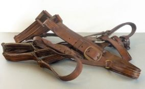 Two Shire horse size leather head collars