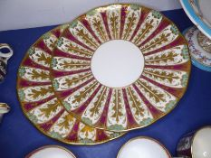 A good selection of ceramics: seven late 19th/early 20th century 24cm plates with a matching comport