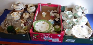 A variety of ceramics and some cut glassware within three boxes; to include multi-coloured coffee