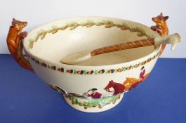 A Crown Devon (Fieldings) two-handled salad bowl; the handles as foxes (one with ear away) and