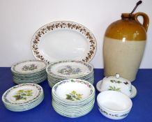 "A 34-piece Royal Worcester part dinner service in the 'Worcester Herbs' pattern: 10 x 10"" dinner"