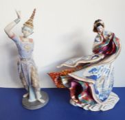 A Lladro porcelain figure of a Siamese dancer (large crack and repair to base), together with one
