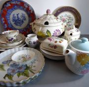 Various ceramics including platters, side plates, a Poole Studioware plate, a large tureen decorated