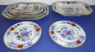 A matching set of seven circa 1830s Copeland & Garrett (late Spode) platters and two accompanying