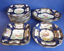 A 19th century Worcester-style part dessert service; comprising eleven plates, two square dishes,
