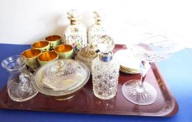 A mixed ceramics and glassware lot: a pair of 19th century porcelain flasks/scent bottles; a set