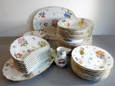 A fine part dinner/dessert service by Herend (Hungary) hand-decorated with fruits and flowers: 10