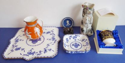 A selection of ceramics to include an unusual 19th century Staffordshire Potteries jug modelled as a