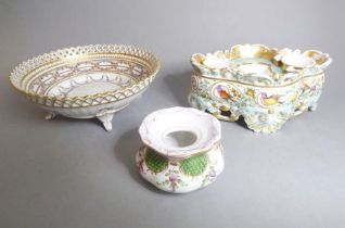 Two pieces of Dresden porcelain and one other Continental piece: a Dresden porcelain bowl with