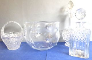 A small selection of fine glassware: to include a mid-20th century hand-cut oval basket; a hand-