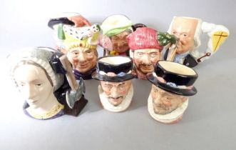 Eight miniature Royal Doulton hand-decorated porcelain character jugs: 'Falstaff', 'Beefeater', '