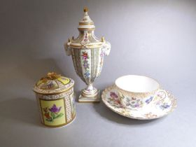 Three pieces of Dresden porcelain: a fine neo-classical-style hand gilded and decorated urn and