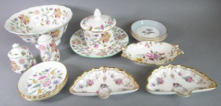 Minton Haddon Hall ceramics (various) together with a boat-shaped Royal Crown Derby trinket dish