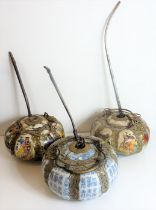 Three Chinese ceramic and metal-mounted pots and covers (as pipes) each of melon form and