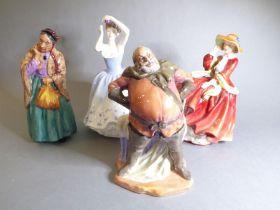 Four Royal Doulton hand-decorated porcelain figure models: 'Falstaff' (H.N. 2054) circa 1949, '