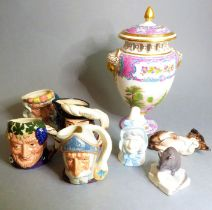 A Spode Copelands China fine porcelain potpourri and cover modelled as a Classical-style urn; two