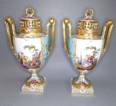 A good pair of late 19th century Dresden-style two-handled porcelain urns and covers (as potpourri);