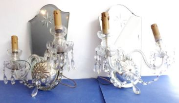 A pair of Art Deco period mirror-backed, two-branchGirandole brackets (fitted for electricity);