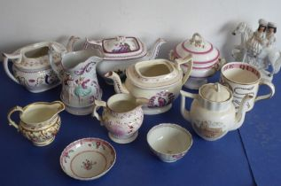 A selection of mostly mid-19th century teapots, jugs and other similar; to include a 19th century