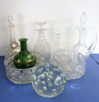 A good selection of glassware to include an early 19th century cut-glass mallet-shaped decanter with
