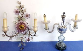 A mid-20th century two-light wall applique modelled as cut-glass flowerheads and leaves together