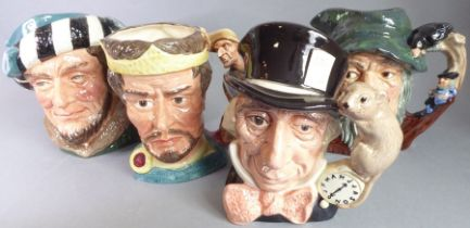 Four hand-decorated Royal Doulton porcelain character jugs comprising Rip Van Winkle (D 6463), Mad
