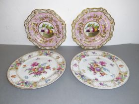 A pair of 19th century shaped porcelain cabinet plates and a pair of Dresden-style porcelain dishes: