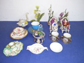 A good selection of mostly small late 19th/early 20th century decorative ornamental porcelain etc.