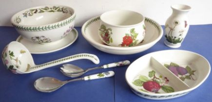 Portmeirion ceramic kitchenware to include bowls, salad servers, a ladle, a two-section oval hors