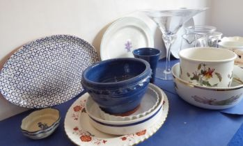 Kitchen-style ceramics andglassware: to include Botanic Garden, platters by Royal Crown Derby and