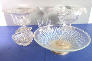 Good glassware to include two cut-glass, urn-shaped pedestal bowls (probably early 20th century), an