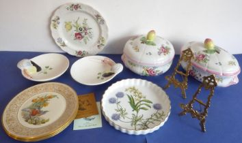 Nine good ceramic pieces and a pair of plate stands: a large and heavy Spode circular two-handled